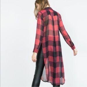 Zara Sheer Buffalo Plaid Long Button Up Top